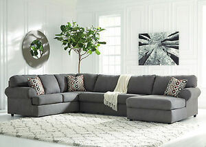 large sofa couch white sectional living room new modern gray microfiber chaise image is loading