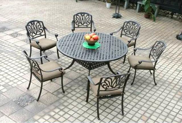 elisabeth patio dining round table set 7 piece cast aluminum outdoor furniture