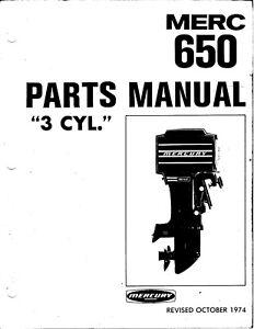 1974 Mercury 650 65 HP, 3 CYL, 3547987 thru 4382056 Parts