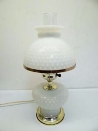 Vintage Used Milk Glass Hobnail Shade Electric Table Lamp ...