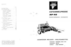 Welger AP40 Baler Parts Manual (PDF file) SPARE PARTS LIST