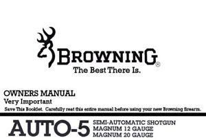 Browning Auto5 Magnum Semi Shotgun Printed Owners Manual