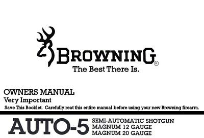 Browning Auto5 Magnum Semi Shotgun Printed Owners Manual