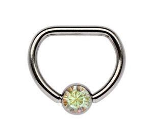 Brust Piercing Schmuck Titan D-Ring mit geradem Steg und Zirkonia Kugel in 5mm