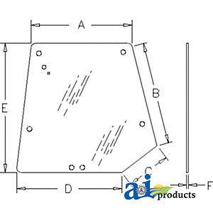 A-3715438M1 Massey Ferguson Parts GLASS REAR WINDOW 6140