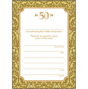 Details About Pack Of 10 Golden Wedding Anniversary Party Invitations 50 Years Ann 02