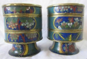 Pair antique Chinese cloisonne enamelled stacked incense clock burner pots Shou