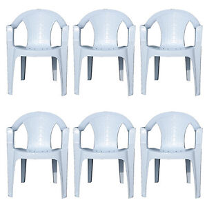 details about 6x indoor outdoor white plastic chairs garden patio armchair stacking heavy duty