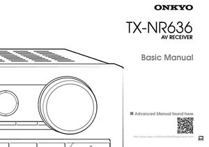 Onkyo Integra TX-NR636 Basic Receiver Owners Instruction