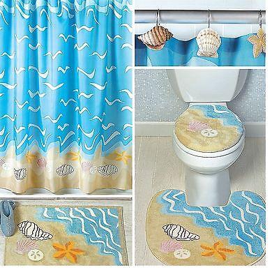 seashell shower curtain 12 shell hooks starfish clam seaside nautical decor ebay