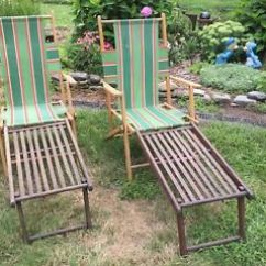 Repair Lawn Chairs Folding Chair Lounger Qty 2 Vintage Telescope Wood Ship Deck Parts Image Is Loading