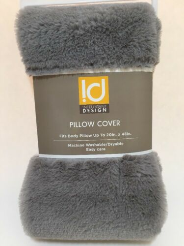 intelligent design body pillow cover 20 x 48 gray faux fur with zipper home garden pillowcases
