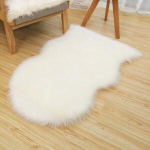 details sur moelleux fausse fourrure imitation peau de mouton tapis chaise housse poilu sol