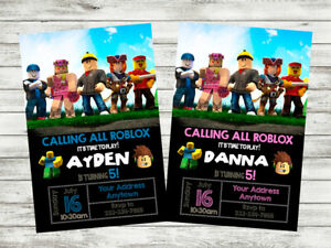 details about roblox birthday party invitation personalized custom