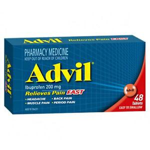 ツ ADVIL 48 TABLETS RELIEVES PAIN FAST EASY TO SWALLOW BODY ...