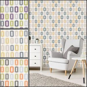 funky living room wallpaper small kitchen dining design retro circle geometric textured embossed vinyl image is loading