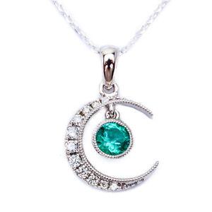 .37ct Green Emerald & Diamond Pave Set Half Moon Pendant