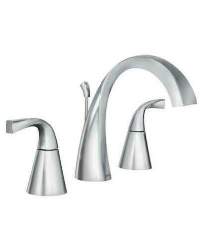 ws84661 moen oxby chrome two handle widespread bathroom faucet with drain
