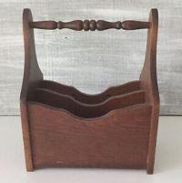 Vintage Wooden Flatware Caddy Utensil Napkin Holder   eBay