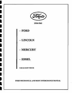 FORD & EDSEL PARTS INTERCHANGE 50 51 52 53 54 55 56 57 58
