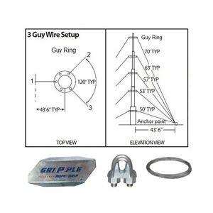 50' ft 3 Way Down Guy Wire Kit w/ 48