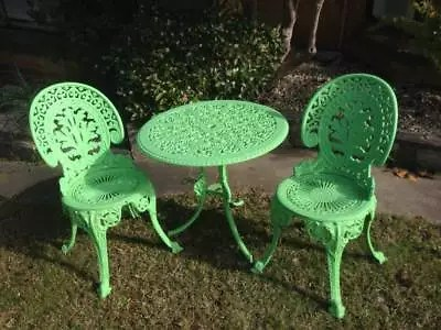 metal outdoor table and chairs australia how to make chair covers for plastic vintage cast garden 3 pieces