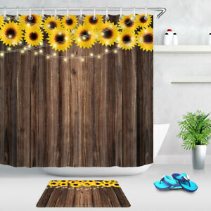 details about rustic brown wood board sunflower shower curtain bathroom fabric bath curtains