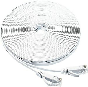 Flat Ethernet cable 50Ft Cat6 Slim RJ45 Network Cable with