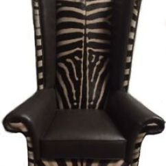 Leather Wingback Chairs Blue And White Chair Genuine Burchell Zebra Hide Skin Armchair Image Is Loading Amp