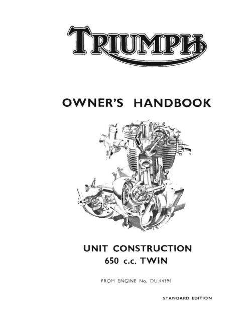 Triumph Owners Manual Book 1967 TR6 Tiger & T120