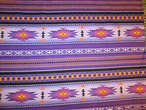 Navajo Indian Purple Teal Border Print Cotton Fabric BTHY