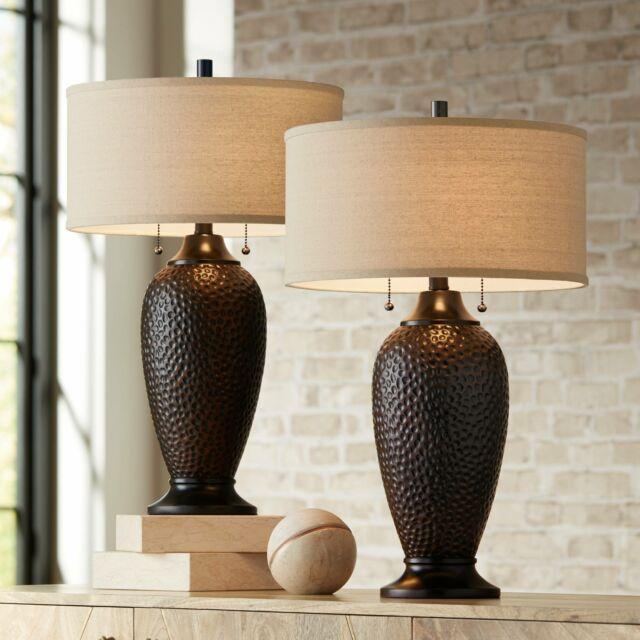 Modern Table Lamps Set Of 2 Hammered Oiled Bronze For Living Room Family Bedroom For Sale Online