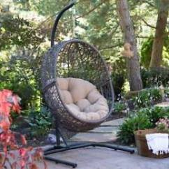 Patio Hanging Egg Chair Victorian Style Chairs Cheap Outdoor Resin Wicker With Cushion And Steel Stand Item 3 Porch Furniture W