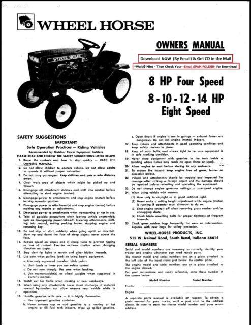 Wheel Horse Lawn Tractor 8, 10, 12, 14HP Operator
