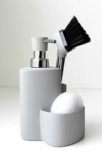 kitchen soap caddy cabinet ideas for small kitchens ceramic dispenser sponge scrubby dish brush image is loading