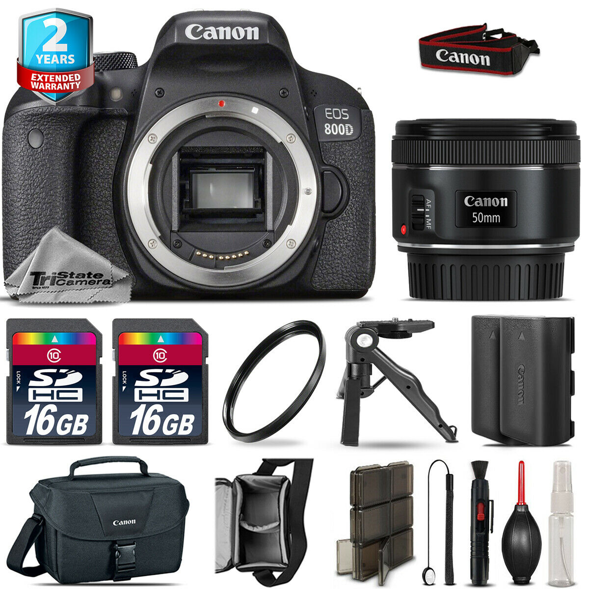 Canon Rebel 800D T7i Camera + 50mm 1.8 STM + Extra Battery + 32GB + 2yr Warranty