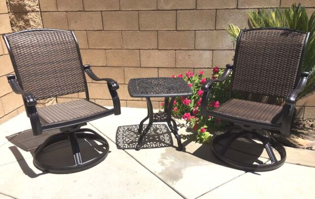 patio swivel rocker chairs chair bicycle exercise machine bistro set end table 3 piece outdoor cast aluminum