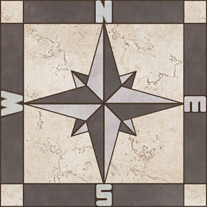 details about porcelain tile square compass rose mosaic medallion flooring wall backsplash