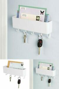 details about mail holder and key rack letter organizer wall mount entryway hook storage white
