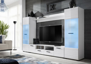 living room tv units spanish decor white high gloss tall cabinet storage unit image is loading