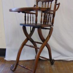 Antique High Chairs Pottery Barn Chair Cover Vintage Heywood Wakefield Oak Wood Childs Baby Image Is Loading