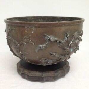 Large 4.4KG Chinese Brass / Bronze Censer Bowl Prunus Bamboo Blossoms Relief