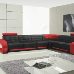 Black And Red Corner Sofa Gaming Chair Montana Bonded Leather Right