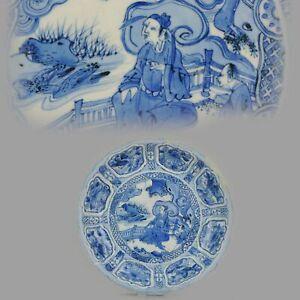 Antique Chinese Porcelain 16/17th C Wanli Kraak porcelain Plate Literatu...