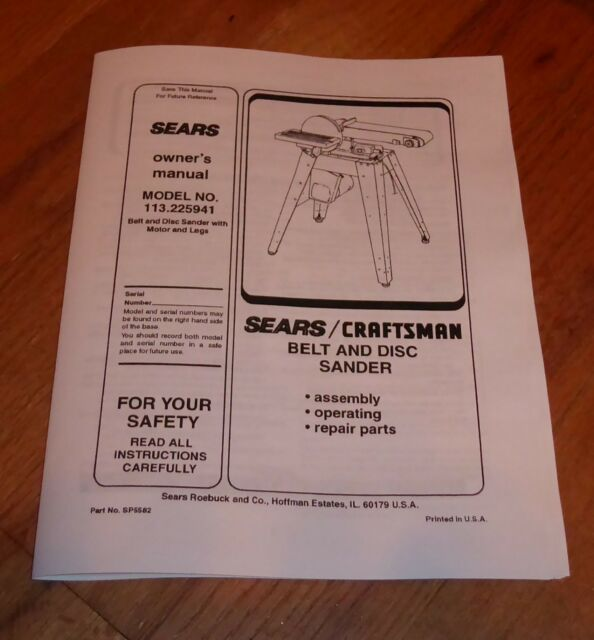 Craftsman Belt Disc Sander Manual