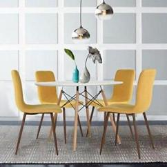 Modern Kitchen Table Chicken Decor Set Of 4 Dining Chairs Mustard Yellow Fabric Cushion Image Is Loading