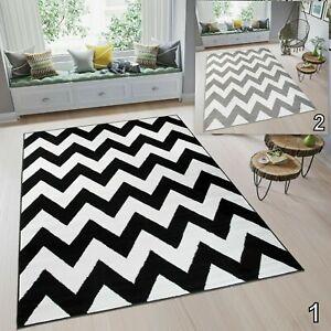details sur tapiso zig zag moderne large tapis geometrique gris noir blanc doux tapis afficher le titre d origine
