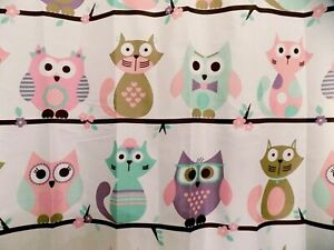 details about new cute cat and owl shower curtain pink purple mint design
