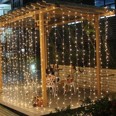 warm white window curtain lights string fairy light 600 led wedding party garden ebay