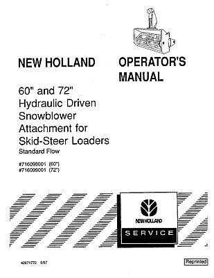 NEW HOLLAND 60 & 72 Hydraulic Snowblower Attach For Skid
